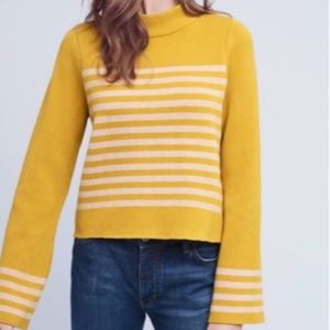 Anthropologie Moth Structured Striped Sweater Bell
